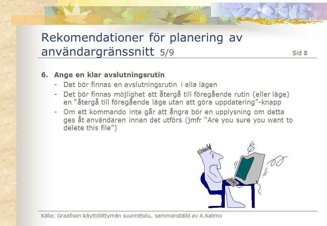 Rekomendationer för planering av användargränssnitt 5/9