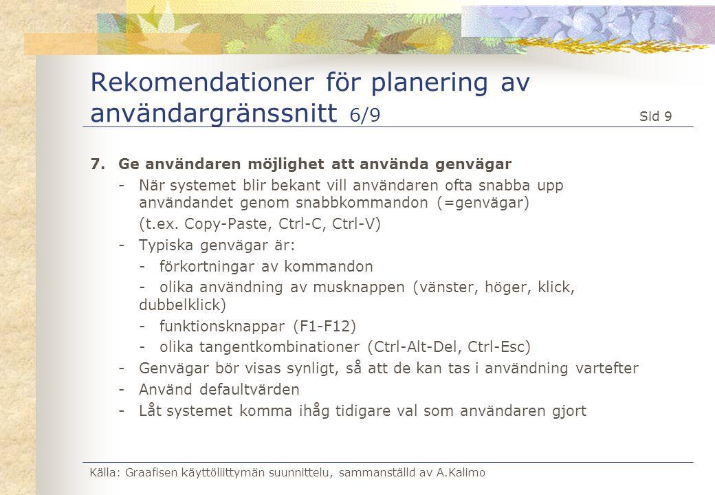 Rekomendationer för planering av användargränssnitt 6/9