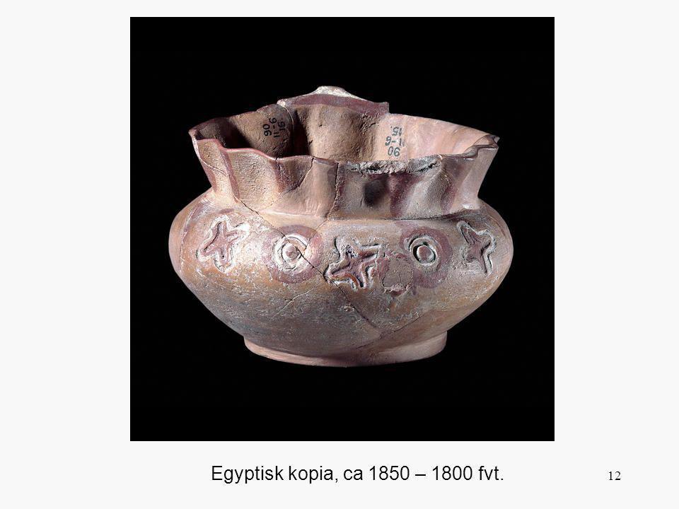 Vid utgrävningar i Egypten fann man dels stora kvantiteter minoisk keramik, dels inhemska kopior av den minoiska. Mönster och form är gjorda för att efterlikna originalen. Det finns bevis på kontakter mellan länderna kring 2000 fvt. och man kan anta att denna keramik var relativt utbredd vid tiden för denna krukas skapelse.
