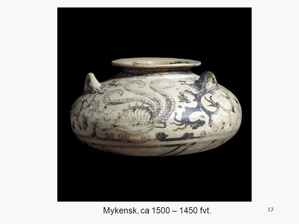 Denna vas är dekorerad i en marin stil , i vilken man målade motiv baserade på fiskar, klippor och musslor i skinande svart på en ljus bakgrund. Stilens födelseort är Kreta men spreds i stor omfattning. Den mykenska stilen är i allmänhet naturalistisk med en böljande linjestil. Från början är det kretensiska inflytandet tydligt men kommer efter mitten av 1400-talet att få mer rytm i formen, balans, teckningen större klarhet och återhållsamhet, berättartekniken blir mera antydande. Utvecklingen går mot abstraktion och stilisering.