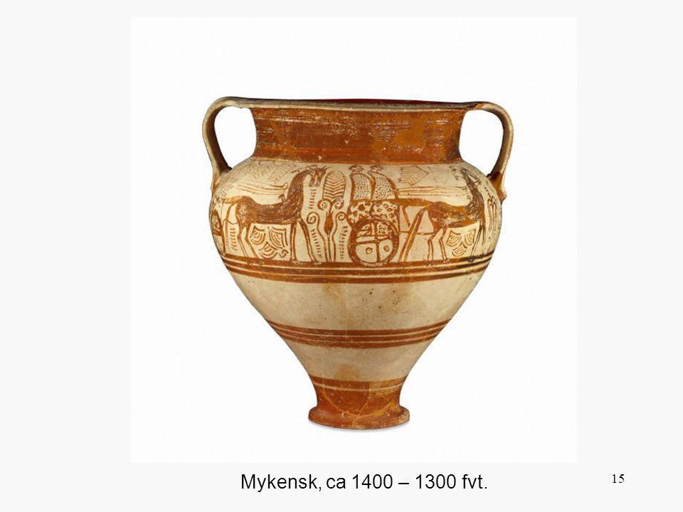 Denna och liknande scener, med människor och djur, var mycket populära från Mykene till Cypern, där den här vasen är upphittad.