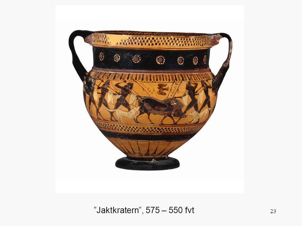 Den korintiska vasen var vanligtvis av mattgul lera med en livlig dekor i purpur, svart, brunt, gult och vitt. Lejon, stenbockar, fåglar och sfinxer utgör det dominerande inslaget i mönstren. Tomrummen mellan dem fylls ut av enkla blommor, prickar och rosetter, dock inte till övermått. Det som är typiskt för den bästa korintiska perioden är den vackra färgskalan, den graciösa formen och de expressivt tecknade figurerna.