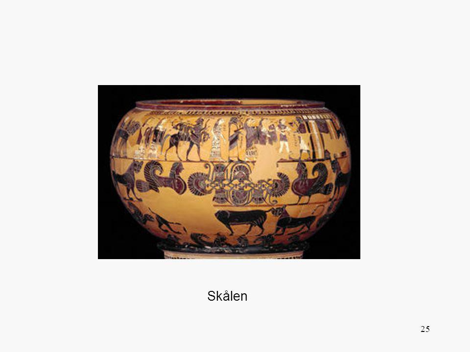Djurfrisen påminner oss om korintisk konst men figurerna överst visar oss vart den athenska vasmålningen är på väg. Den visar gudar, nymfer och andra som går i en procession till Peleus hus för att fira hans bröllop med den vackra havsnymfen Thetis. Peleus står framför sin dörr för att hälsa gästerna välkomna. Bland de första ser vi Dionysos. Namnet på gästerna är skrivna på vasen. Mellan husets kolonner kan man läsa: Sophilos målade mig . Han är det tidigaste grekiske målare vi känner namnet på.