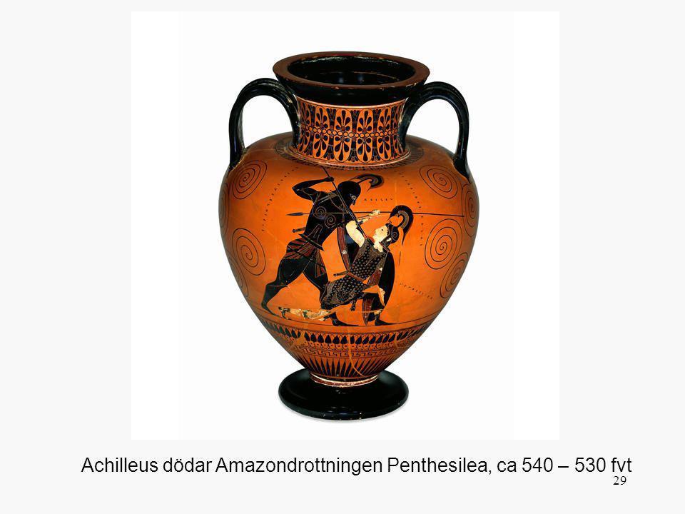 Penthesilea tog med sina amazonkrigare för att hjälpa Troja och dödades av Achilleus. Här ser man hur Achilleus genomborrar hennes hals och blodet sprutar ut. Notera hudfärgen! Enligt en tradition möttes deras blickar precis i dödsögonblicket, och för sent, blev de förälskade i varann.