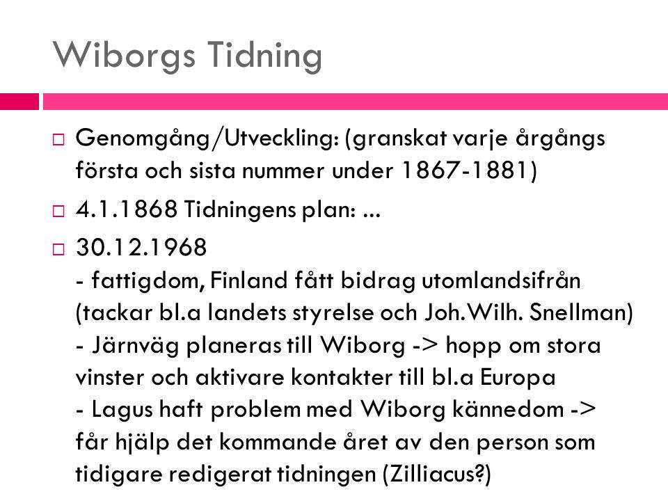Wiborgs Tidning Genomgång/Utveckling: (granskat varje årgångs första och sista nummer under 1867-1881)