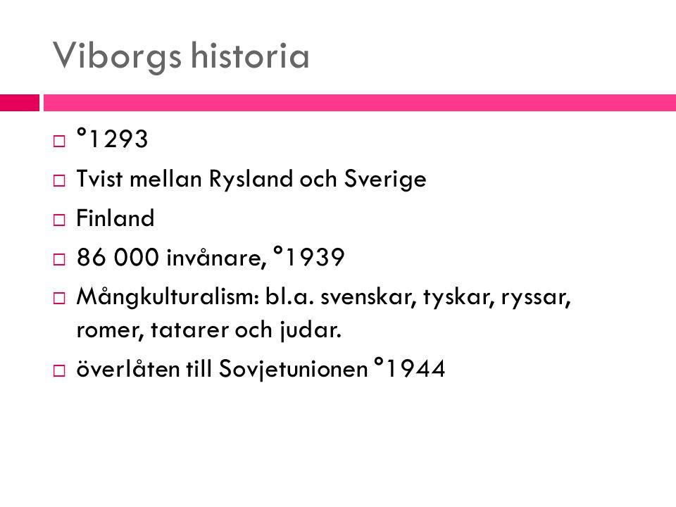 Viborgs historia °1293 Tvist mellan Rysland och Sverige Finland