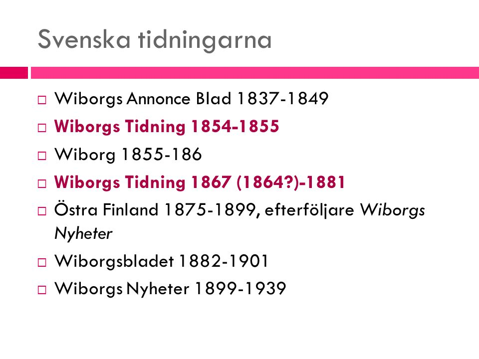 Svenska tidningarna Wiborgs Annonce Blad 1837-1849