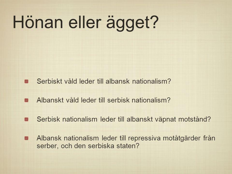 Hönan eller ägget Serbiskt våld leder till albansk nationalism