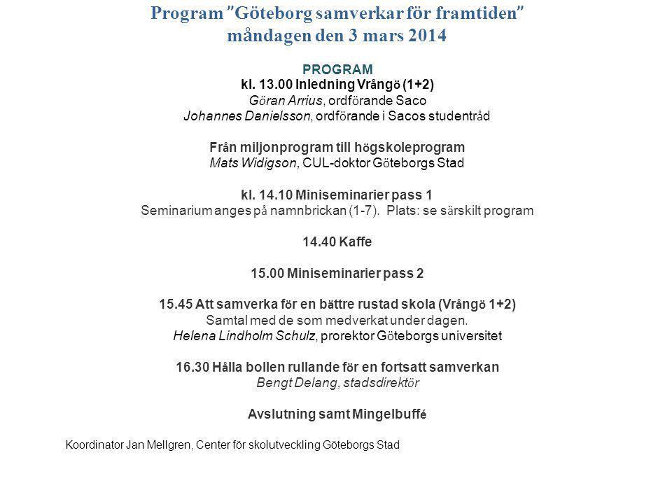 Program Göteborg samverkar för framtiden