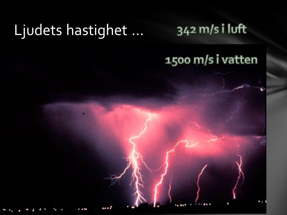 Ljudets hastighet … 342 m/s i luft 1500 m/s i vatten