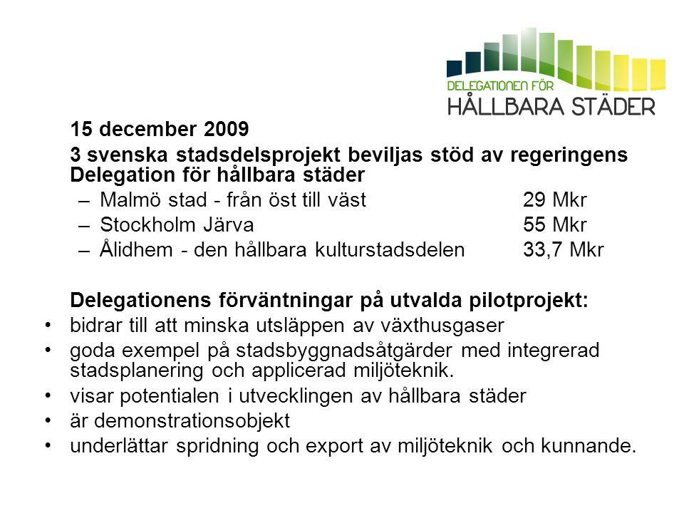 15 december 2009 3 svenska stadsdelsprojekt beviljas stöd av regeringens Delegation för hållbara städer.
