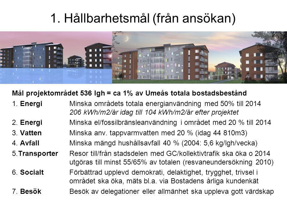 1. Hållbarhetsmål (från ansökan)