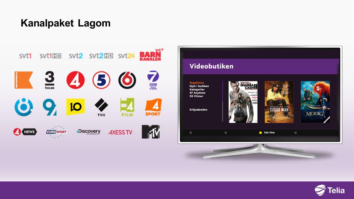 Kanalpaket Lagom Med Lagom får du Sveriges populäraste kanaler, SVT1 och SVT2, TV3, TV4, Kanal 5, Discovery med flera och Videobutiken.