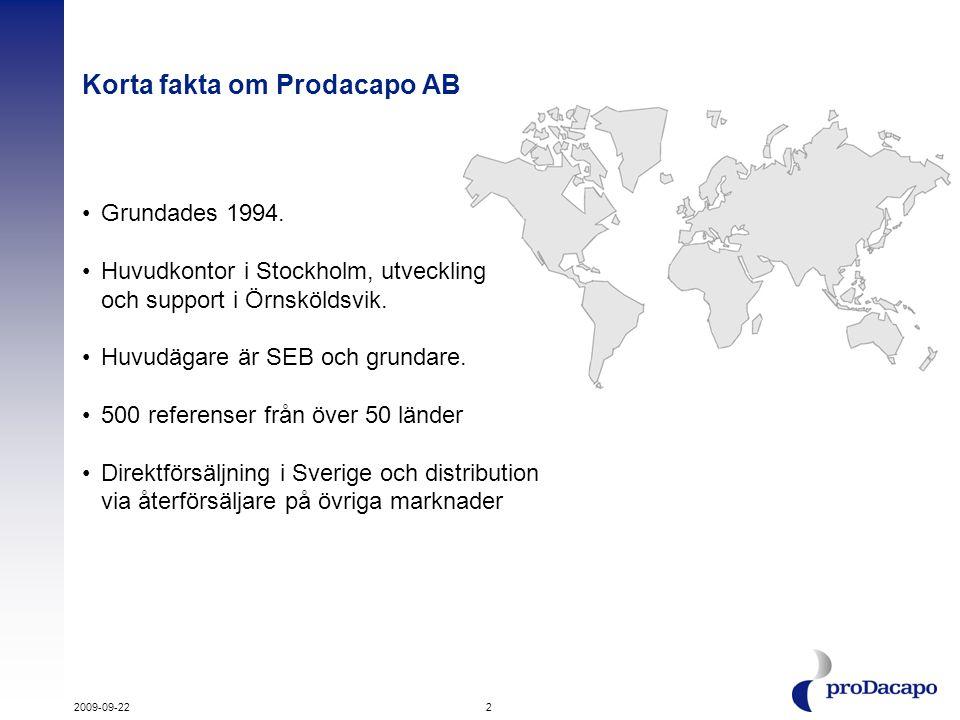 Korta fakta om Prodacapo AB