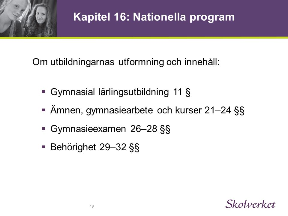 Kapitel 16: Nationella program