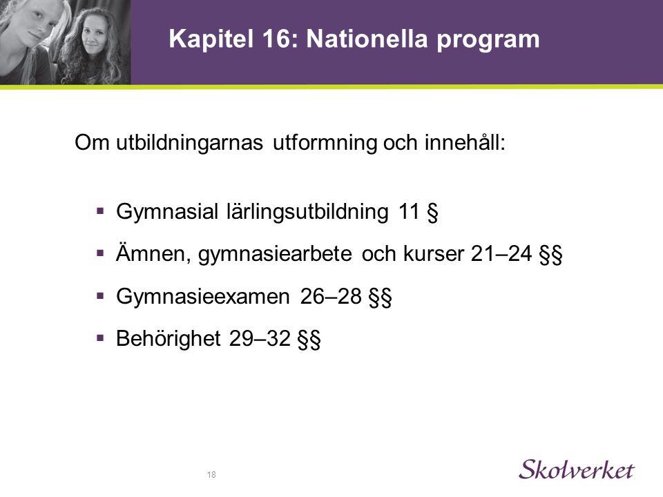 Kapitel 16: Nationella program