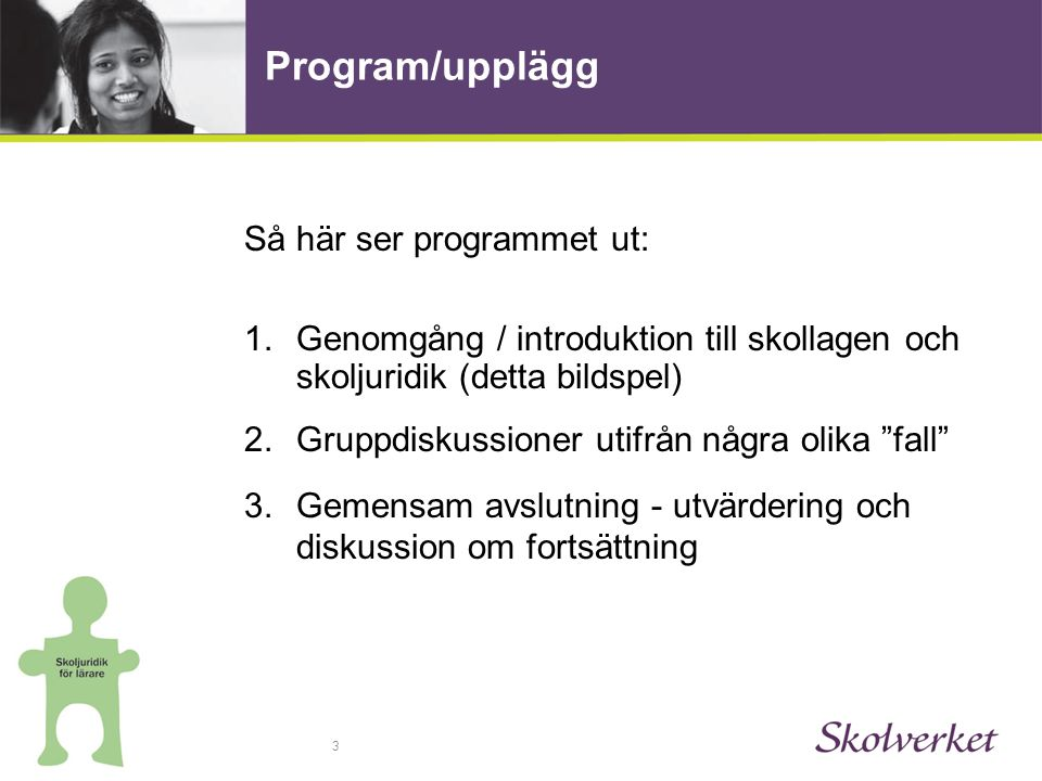 Program/upplägg Så här ser programmet ut: