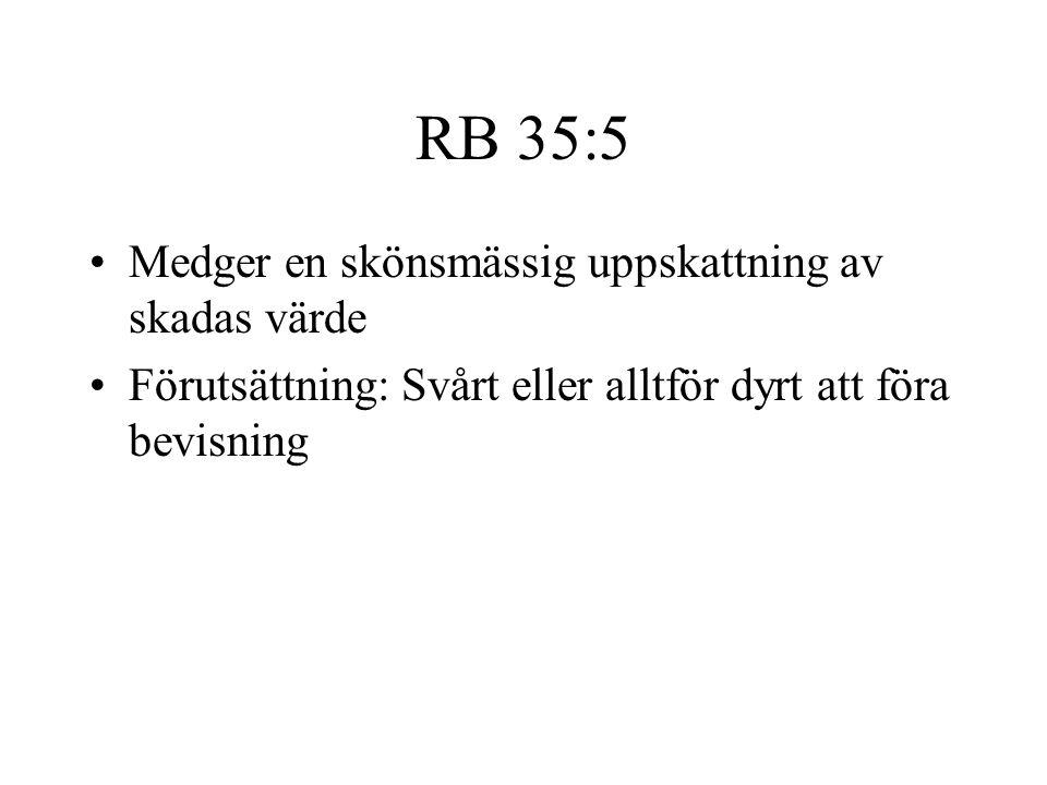 RB 35:5 Medger en skönsmässig uppskattning av skadas värde