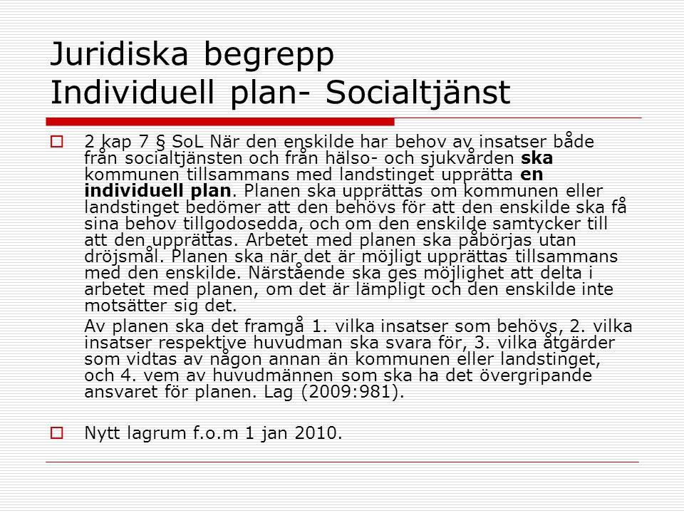 Juridiska begrepp Individuell plan- Socialtjänst