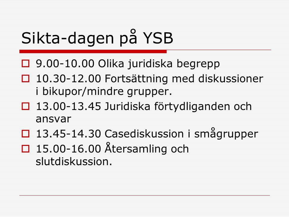 Sikta-dagen på YSB 9.00-10.00 Olika juridiska begrepp