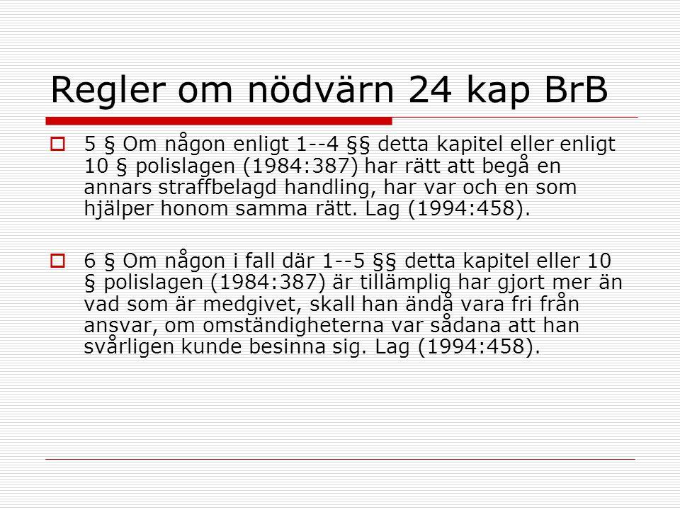 Regler om nödvärn 24 kap BrB