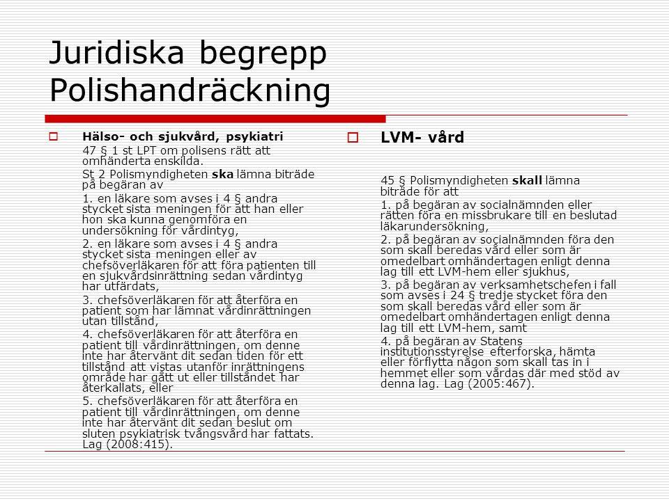 Juridiska begrepp Polishandräckning