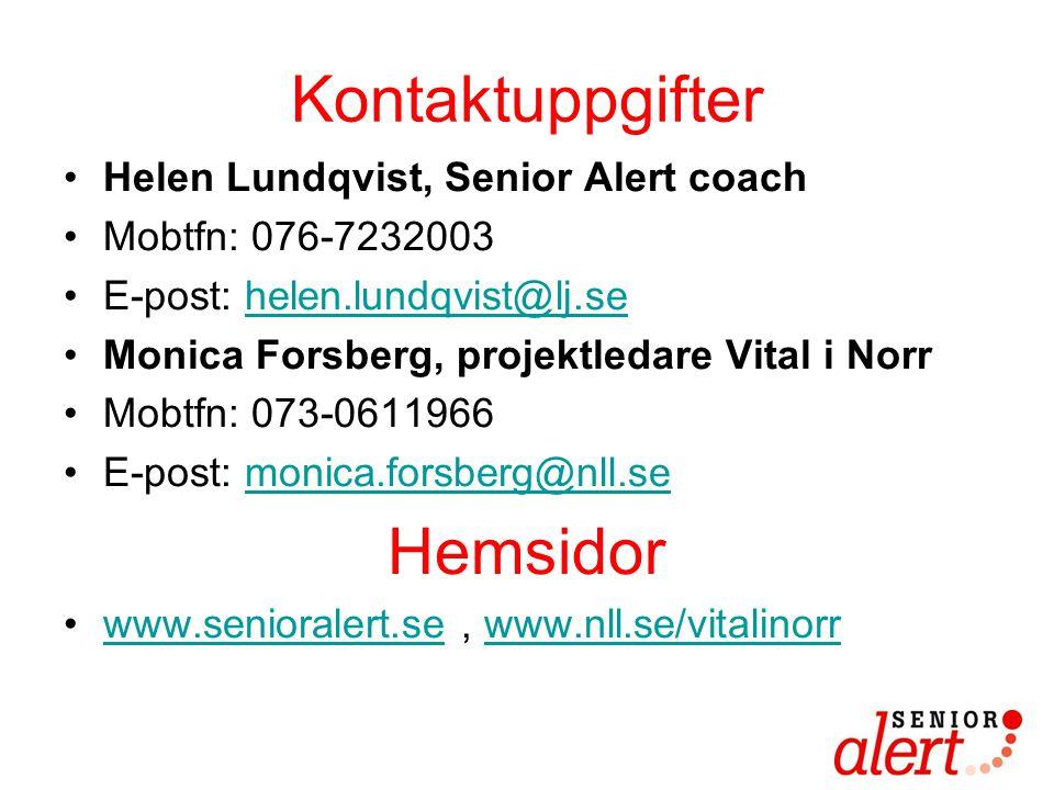 Kontaktuppgifter Hemsidor Helen Lundqvist, Senior Alert coach