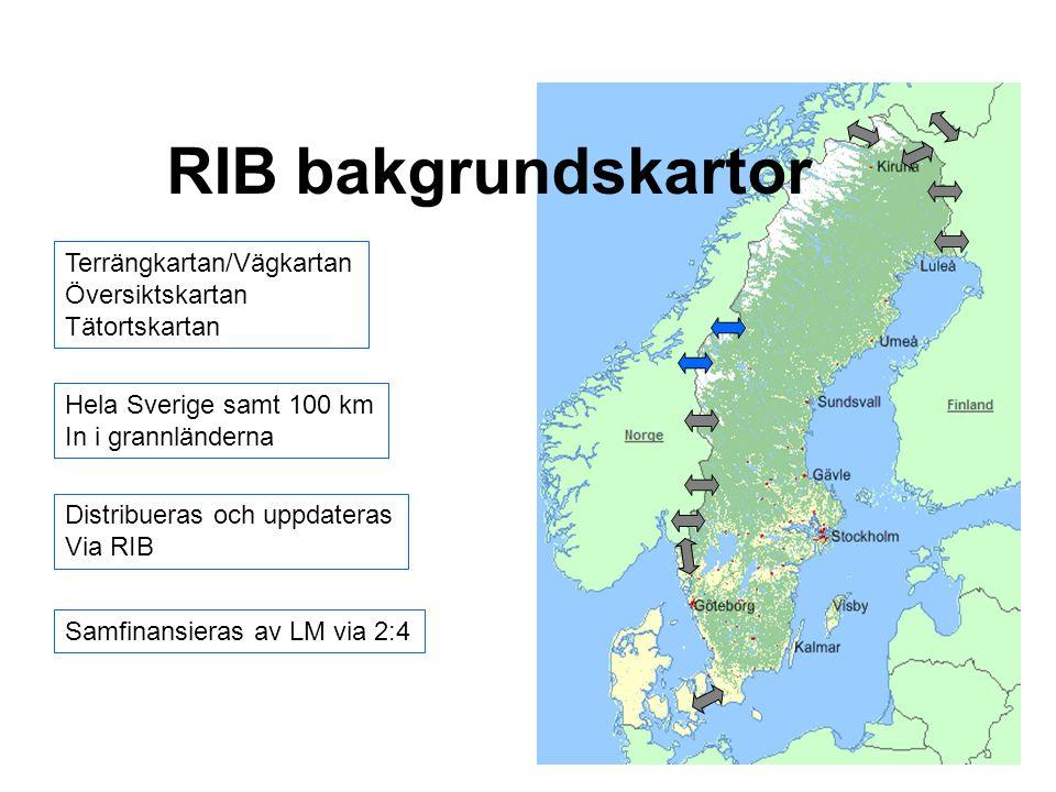 RIB bakgrundskartor Terrängkartan/Vägkartan Översiktskartan