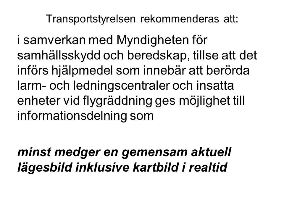 Transportstyrelsen rekommenderas att: