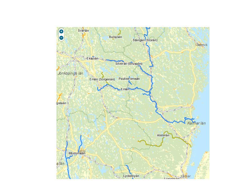 Karta för att kunna orienteras sig var Emån och Silverån är i geografin.