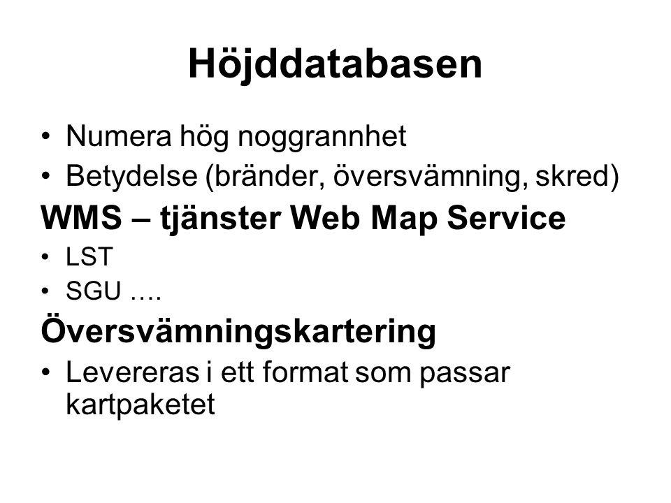 Höjddatabasen WMS – tjänster Web Map Service Översvämningskartering