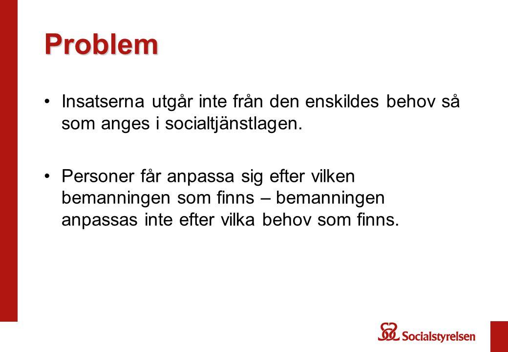 Problem Insatserna utgår inte från den enskildes behov så som anges i socialtjänstlagen.