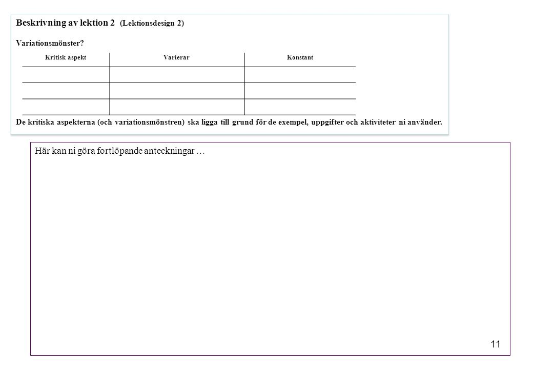 Beskrivning av lektion 2 (Lektionsdesign 2)