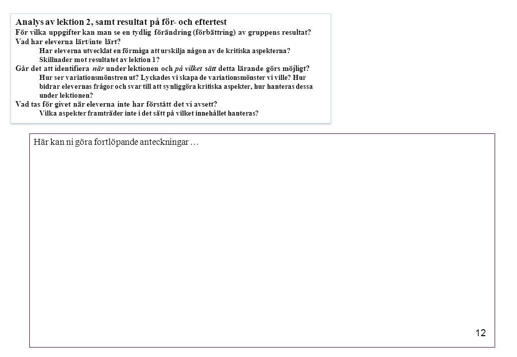 Analys av lektion 2, samt resultat på för- och eftertest