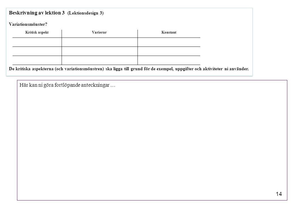 Beskrivning av lektion 3 (Lektionsdesign 3)