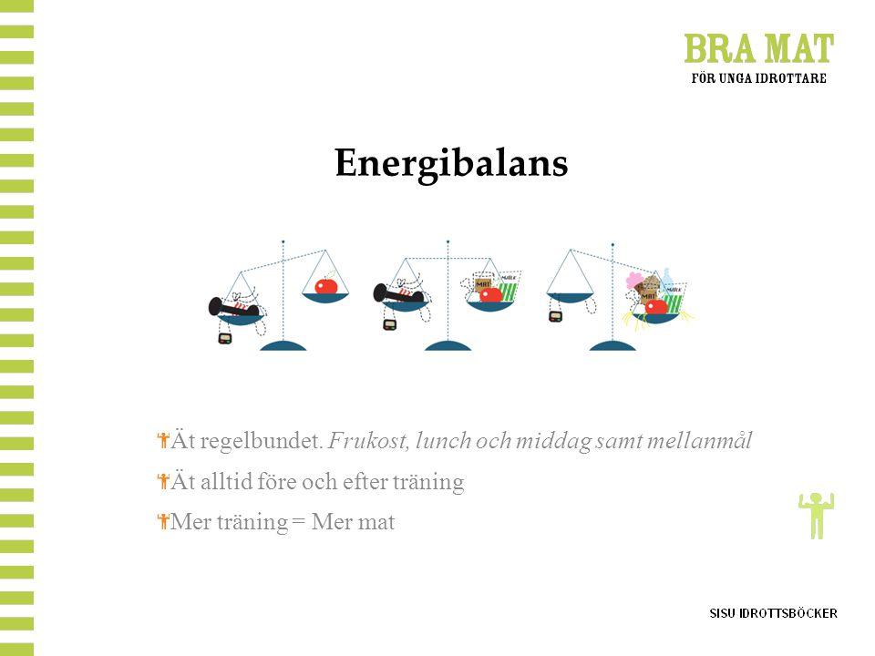 Energibalans Ät regelbundet. Frukost, lunch och middag samt mellanmål