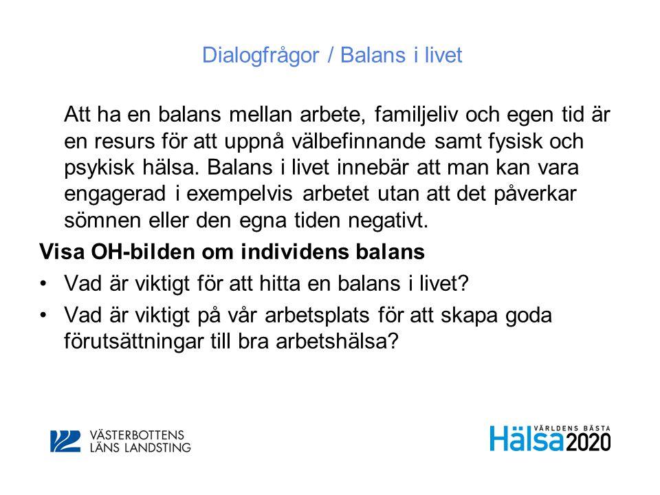 Dialogfrågor / Balans i livet