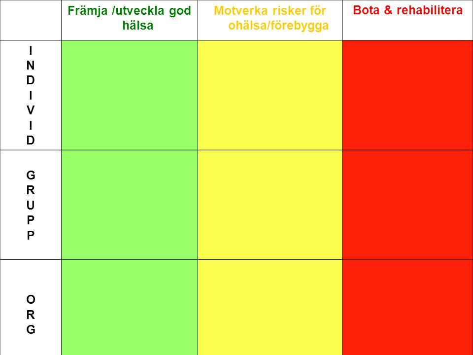 Främja /utveckla god hälsa Motverka risker för ohälsa/förebygga