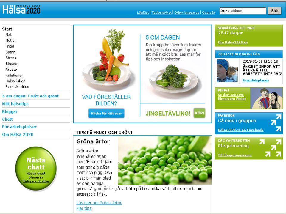 Syftet med webbportalen Hälsa 2020 är att ge inspiration och kunskap till en bättre hälsa.