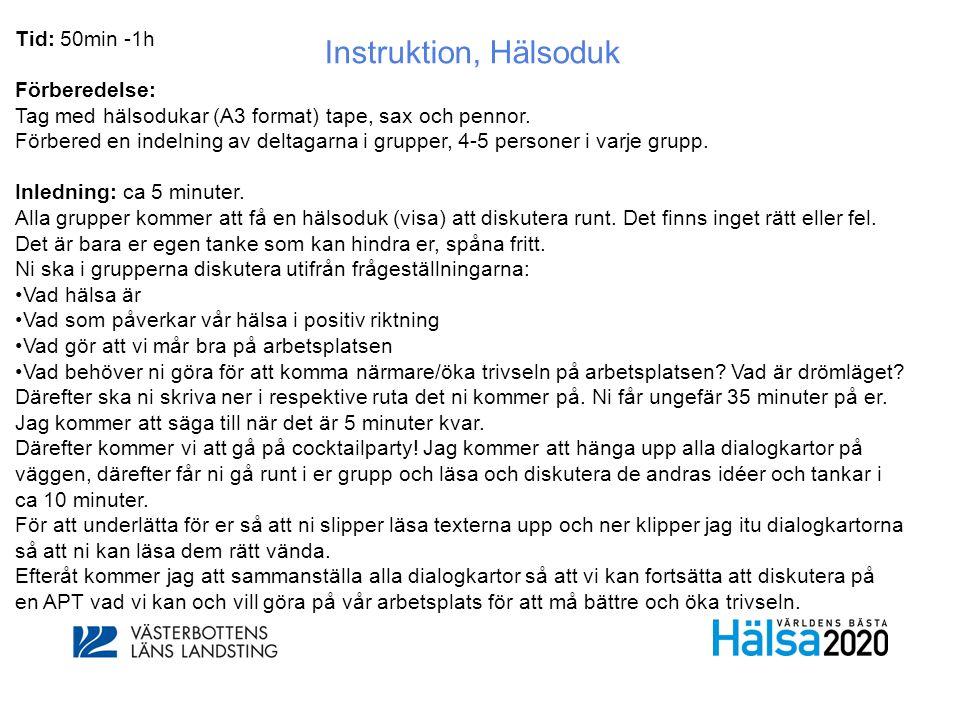 Instruktion, Hälsoduk Tid: 50min -1h Förberedelse: