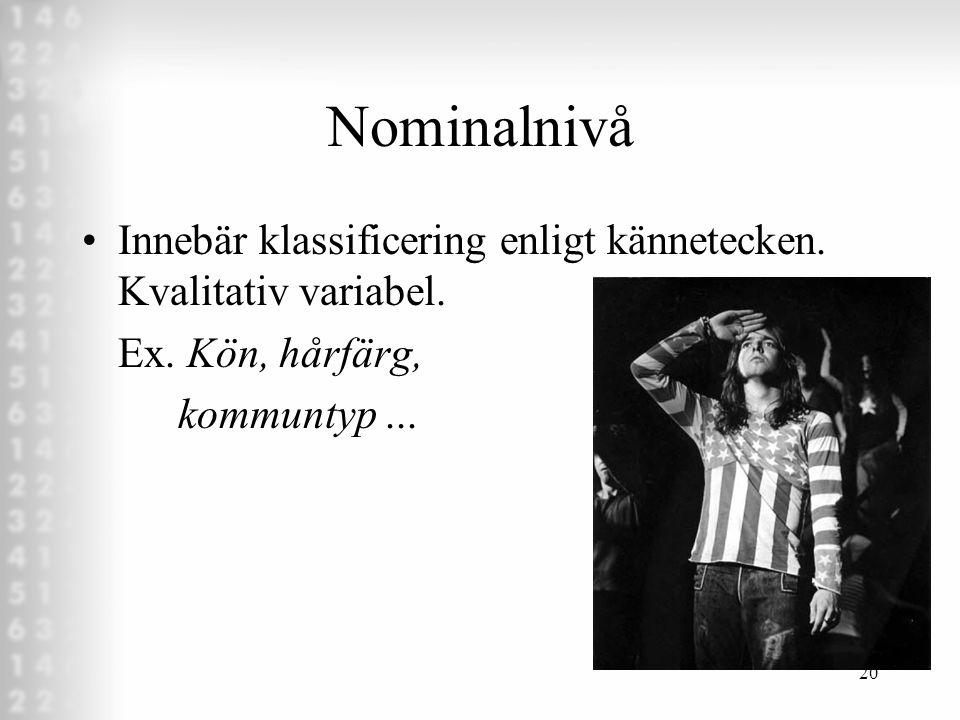 Nominalnivå Innebär klassificering enligt kännetecken.