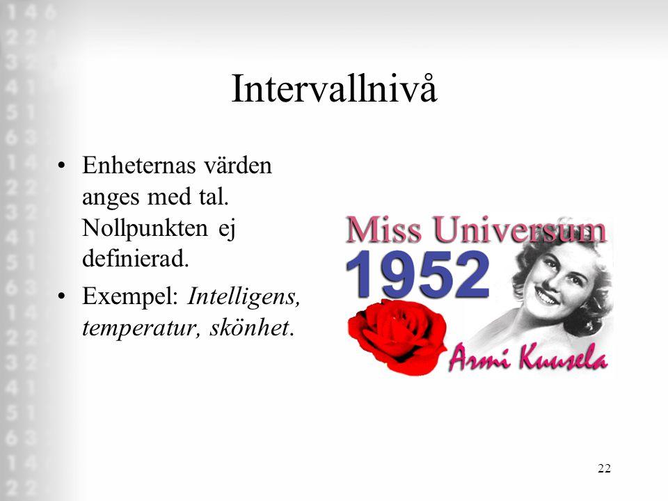 Intervallnivå Enheternas värden anges med tal. Nollpunkten ej definierad.