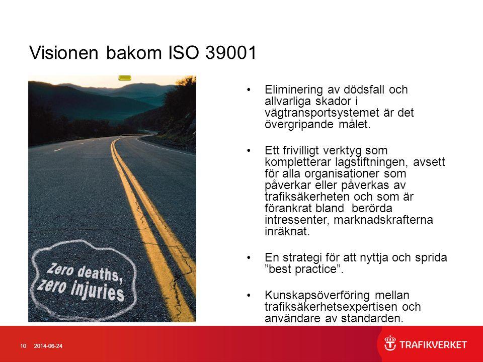 Visionen bakom ISO 39001 Eliminering av dödsfall och allvarliga skador i vägtransportsystemet är det övergripande målet.