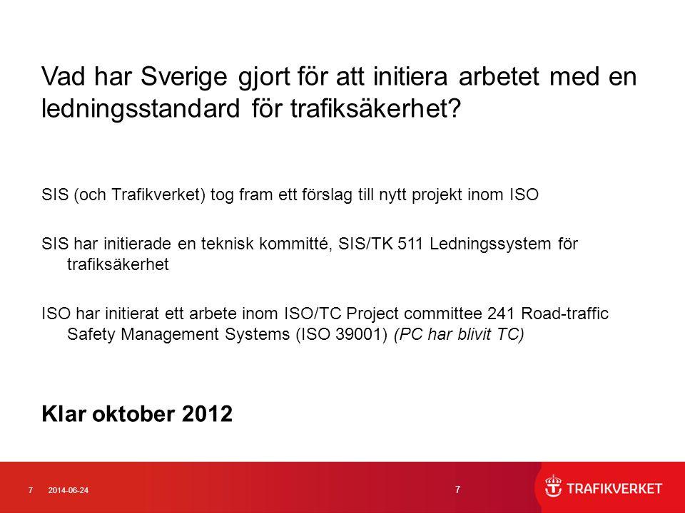 Vad har Sverige gjort för att initiera arbetet med en ledningsstandard för trafiksäkerhet