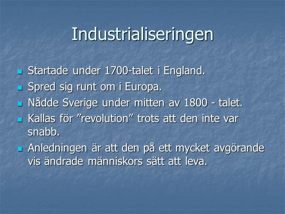 Industrialiseringen Startade under 1700-talet i England.