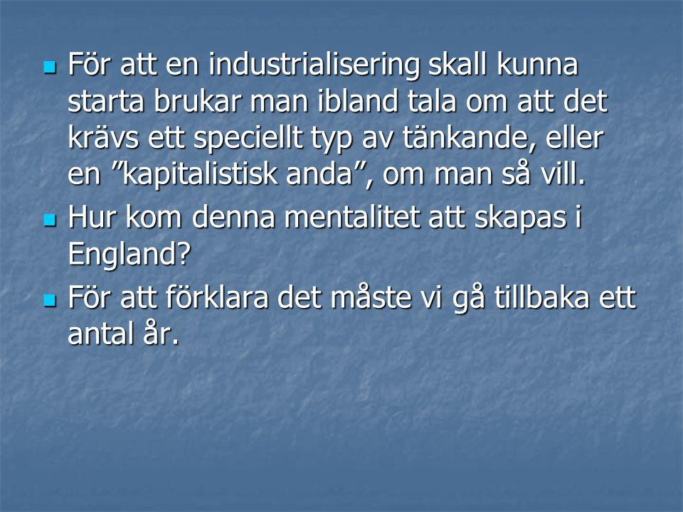 För att en industrialisering skall kunna starta brukar man ibland tala om att det krävs ett speciellt typ av tänkande, eller en kapitalistisk anda , om man så vill.