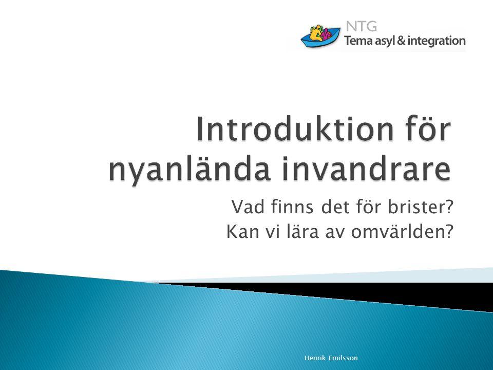 Introduktion för nyanlända invandrare