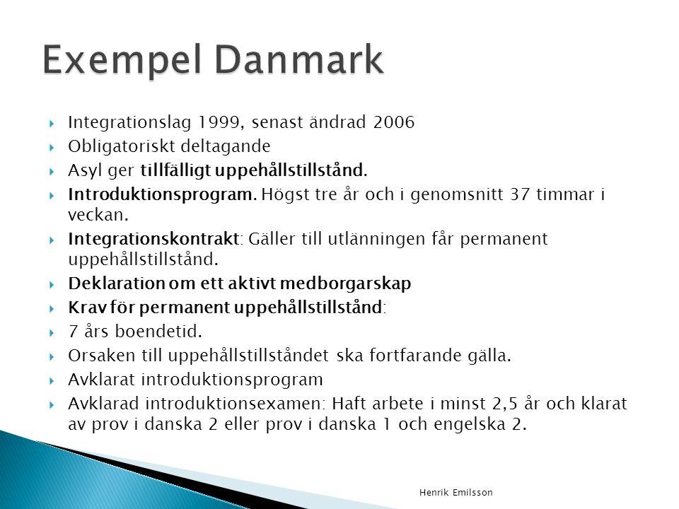 Exempel Danmark Integrationslag 1999, senast ändrad 2006