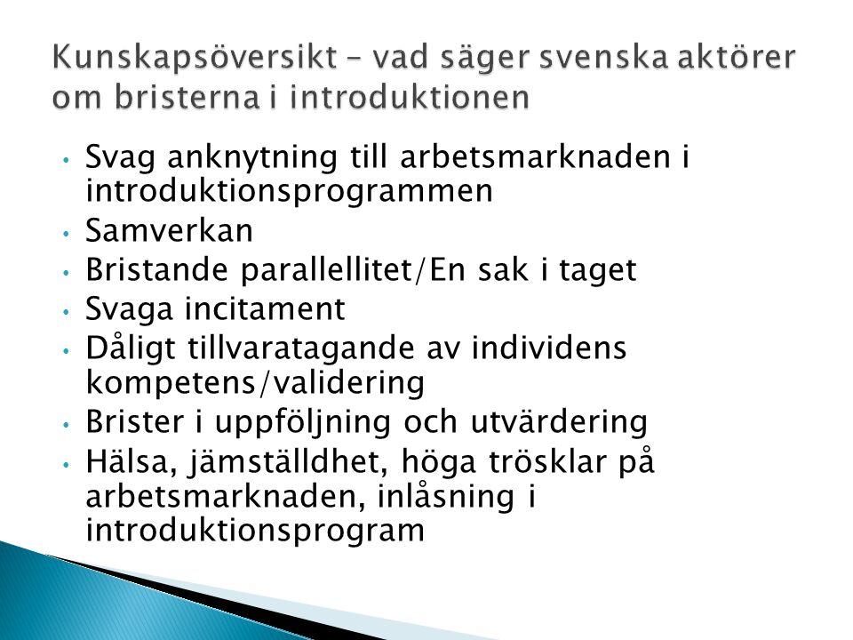 Kunskapsöversikt – vad säger svenska aktörer om bristerna i introduktionen