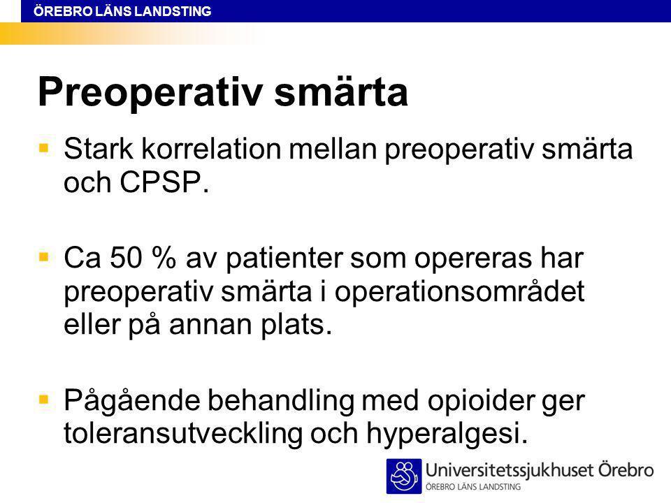 Preoperativ smärta Stark korrelation mellan preoperativ smärta och CPSP.